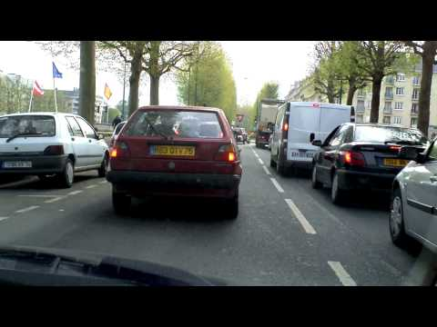 Caen, France. Driving in the rush hour