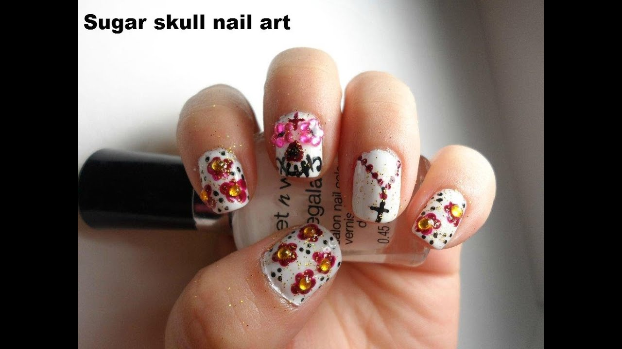 Sugar skull day of the dead nail art el dia de los muertos youtube prinsesfo Gallery