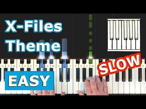 X-Files Theme (Illuminati Song) - SLOW Piano Tutorial EASY - Sheet Music (Synthesia) thumbnail