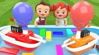 Preschool Children Learning Videos - Little Baby Boy & Girl Fun Play Boats Race Pond Toy Set Kids