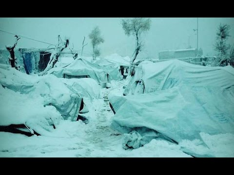 Shocking images from Moria refugee camp of migrants forced to live in the snow (Lesbos, Greece)