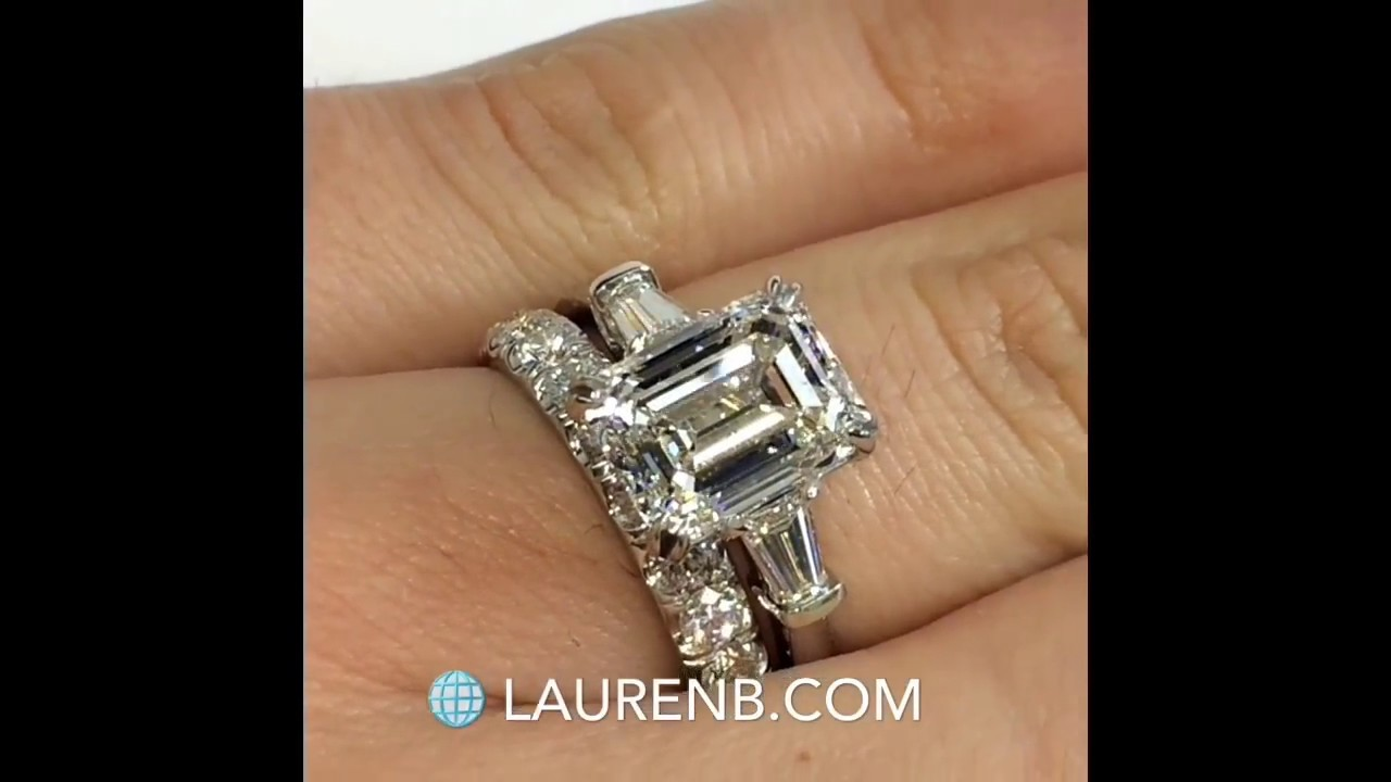 product emerald side marshall tapered three engagement platinum ring stones jewellery pierce cut stone company carat in bag diamond rings by