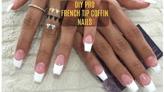 DIY PROFESSIONAL FRENCH NAILS AT HOME $6 !! | French Tip Coffin Nails