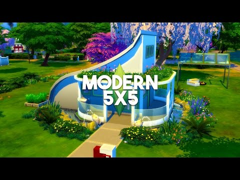 The sims 4 house building 5x5 futuristic house speed for Modern house 5x5