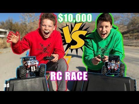 Bryton Vs Ashton RC Monster Truck RACE! Winner gets $10,000!