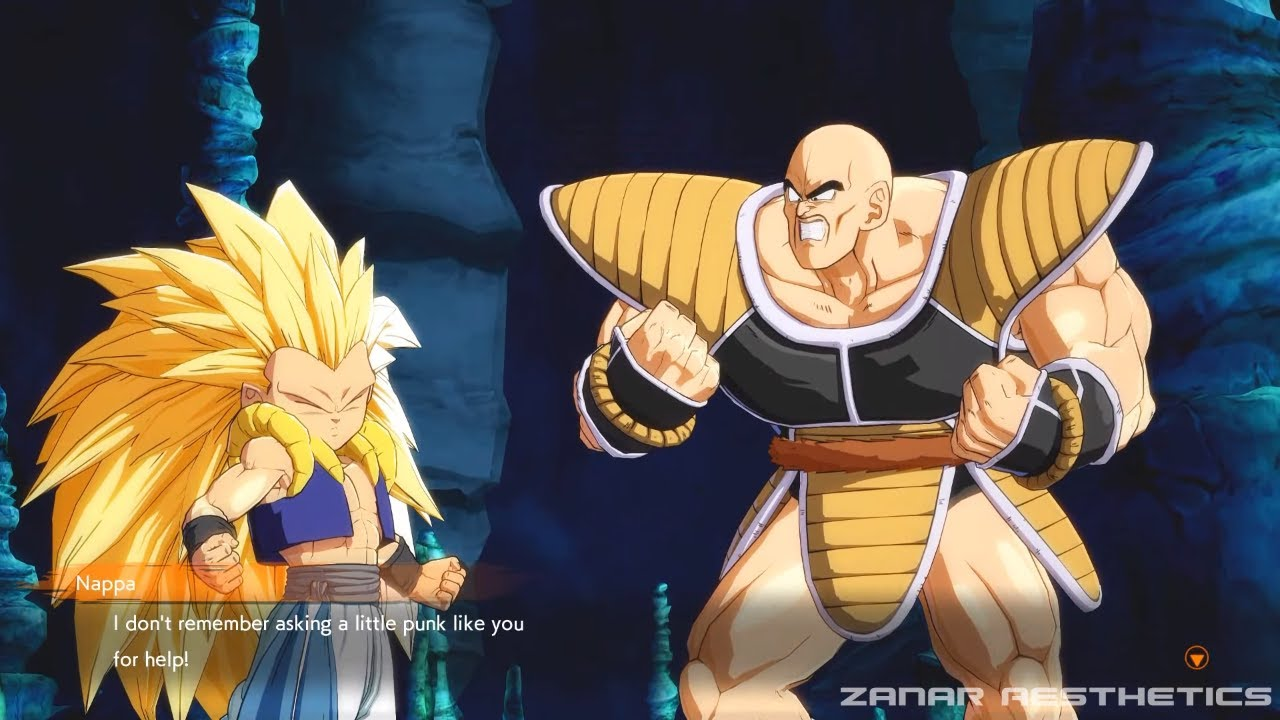 dragon ball fighterz gotenks teaching nappa how to turn super