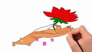 How to draw a flower with colouring pencil