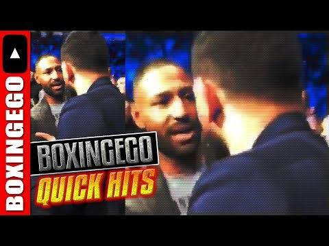 AMIR KHAN RUNS UP ON KELL BROOK @ FIGHT - KHAN VS BROOK DISCUSSED FACE-TO-FACE