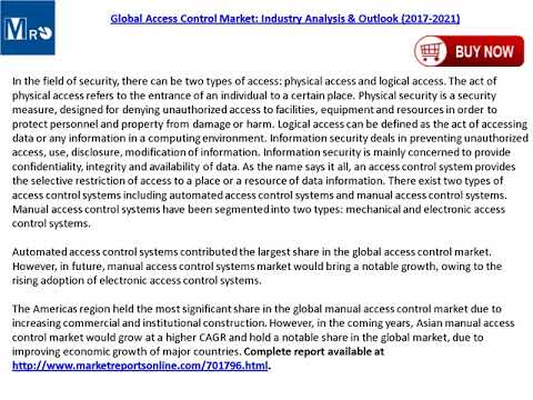 Global Access Control Market Trends, Industry Analysis and Outlook 2021