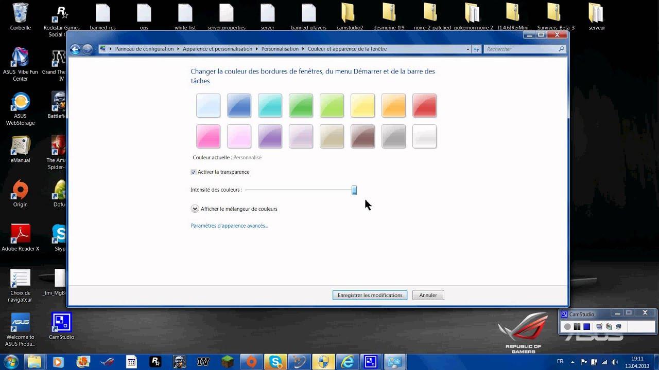 Comment changer la couleur de ca barre des t ches youtube - Comment changer la couleur d un meuble ...