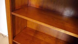 Large Yew Wood Bookcase Four Adjustable Shelves