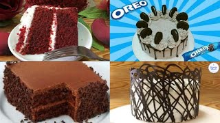 4 EASY CAKE RECIPES | OREO CAKE | RED VELVET CAKE | CHOCOLATE CAKE | EGGLESS VANILLA CAKE