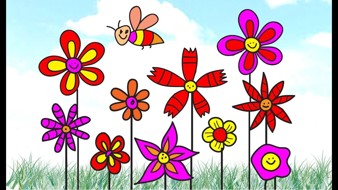 How to draw Scenery of Flower, scenery of Coloring Pages VIDEO FOR ...