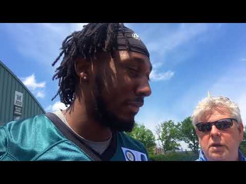 Philadelphia Eagles RB Josh Adams discusses linemen he played with at Notre Dame, childhood fandom