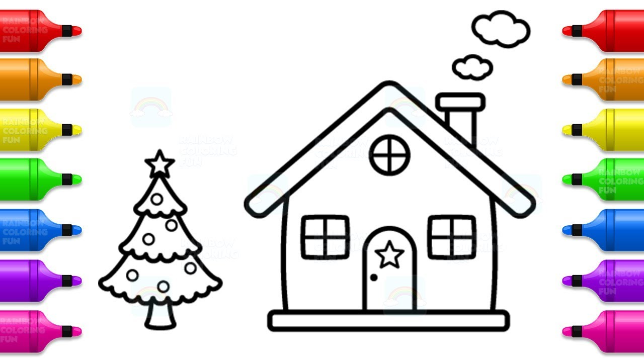 how to draw santa house christmas tree and house coloring pages for kids