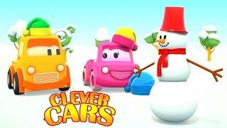 Car cartoons & Car games for babies. Clever cars build a snowman