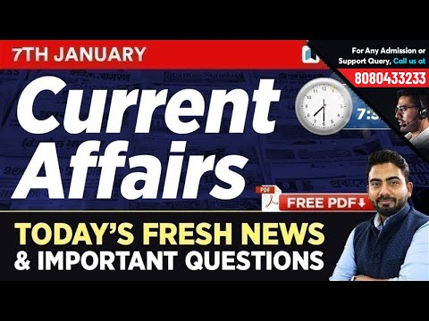 #208 : 7 January 2019 Current Affairs in Hindi | Current Affairs January 2019 Questions + Static GK