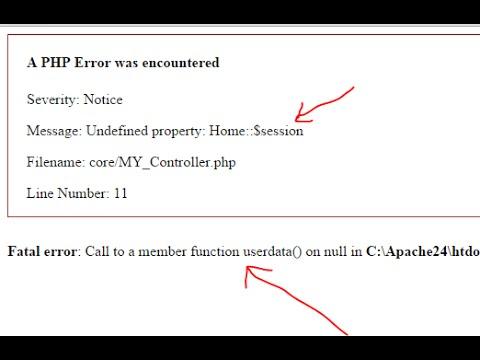CI problem : Fatal error Call to a member function userdata()