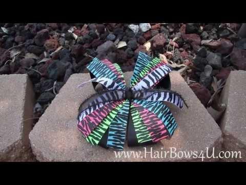 Zebra Print Stripes Rainbow Colors Pinwheel Hair Bow- video demo