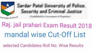 Raj. Jail Prahari Exam 2018 Result Jari