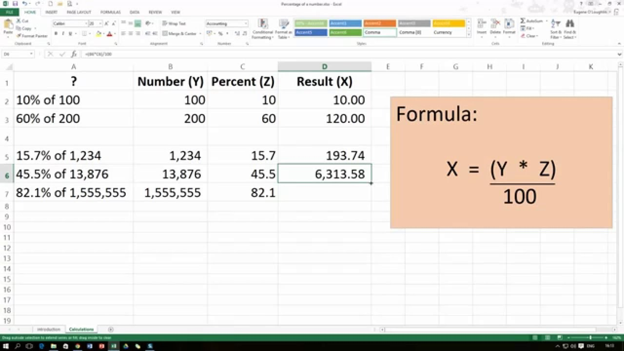 how to calculate the percentage of a number in excel 2013 youtube