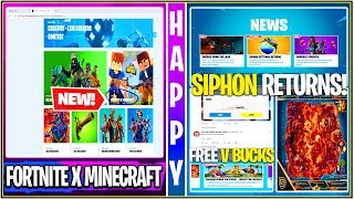 *NEW* Fortnite: Fortnite x Minecraft Collab, SIPHON UPDATE *Revert*, FREE 1k V-Bucks, & More!
