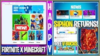 Fortnite : Fortnite x Minecraft Collab, SIPHON UPDATE « Revert », GRATUIT 1k V-Bucks, plus!