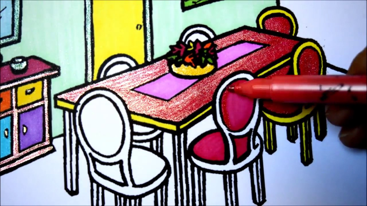 Coloring Pages Dining Table And Chairs L Mirror Room Drawing To Color For Kids