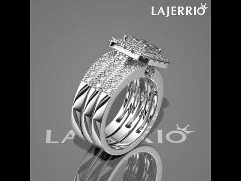 292aaf71b104c7 360° - Lajerrio Princess Cut White Sapphire 925 Sterling Silver Bridal Sets.  Lajerrio Jewelry