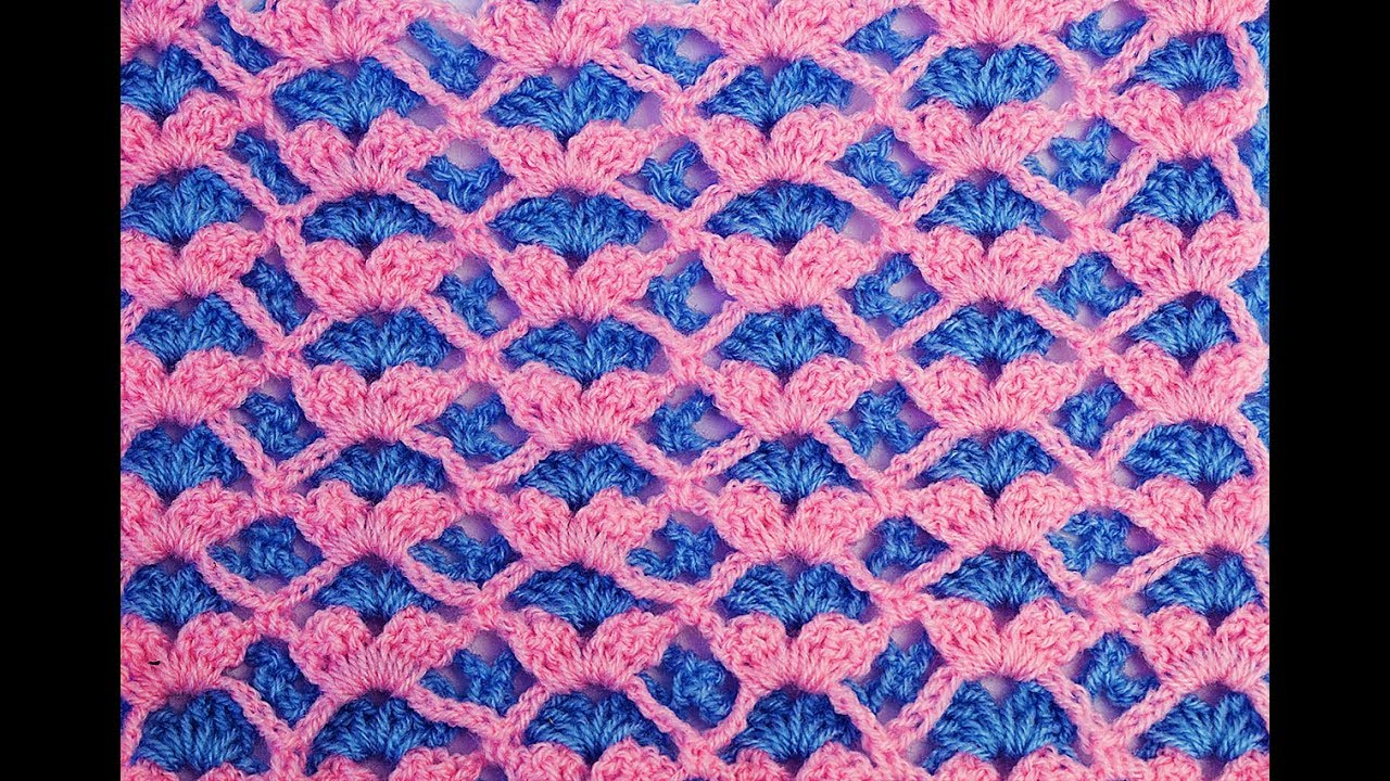 Punto de abanico a ganchillo reversible para mantas y - Manta de crochet facil ...