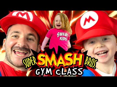 Kids Workout! MARIO SUPER SMASH BROS. GYM CLASS! Real-Life VIDEO GAME! Kids Workout Videos, DANCE