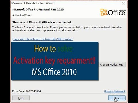 How to solve MS Office 2010 Activation Problem - YouTube