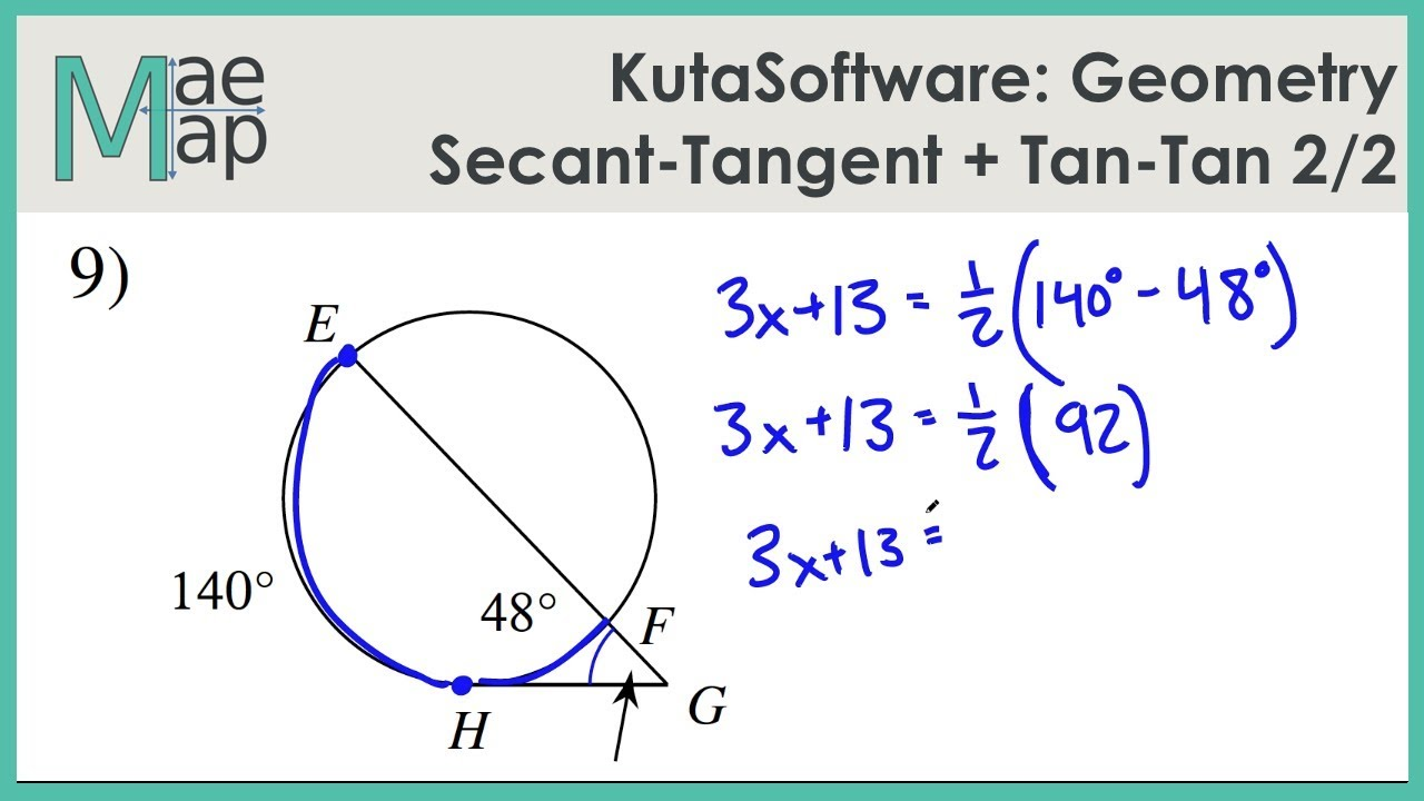 Kutasoftware Geometry Secant Tangent And Tangent Tangent Angles