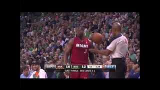 Boston fan returns ball to court by lobbing it at Dwyane Wade