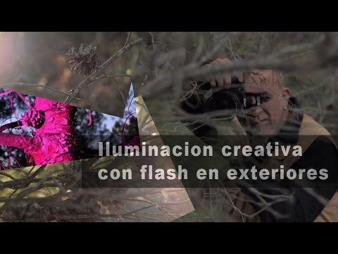 iluminacin creativa en el bosque con flash porttil