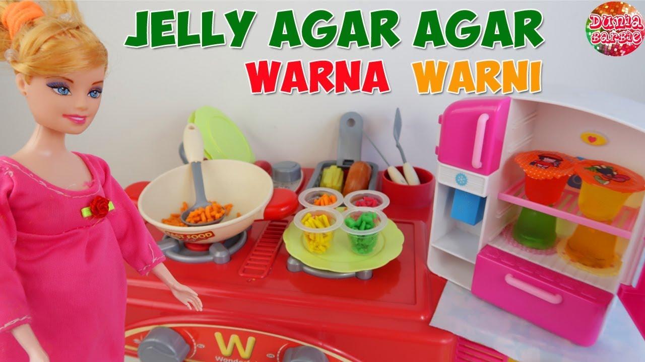 Barbie Hamil Masak Jelly Agar Agar Warna Warni Main Masak Masakan Mainan Anak Perempuan Youtube