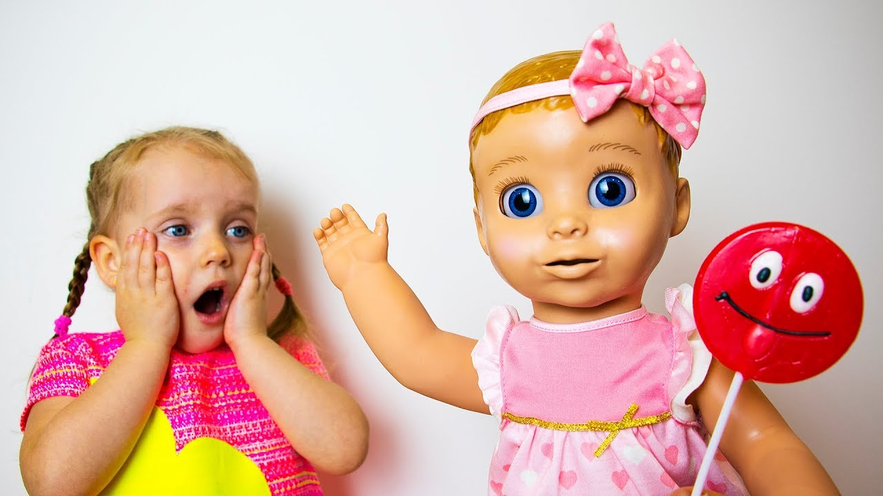 Gaby and Alex, Baby Doll and Lollipop. Funny pretend play story for kids