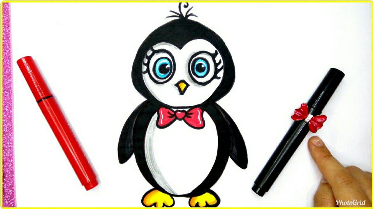 رسم البطريق للأطفال سهل جدا بالخطوات رسم بطريق كيوت رسم سهل