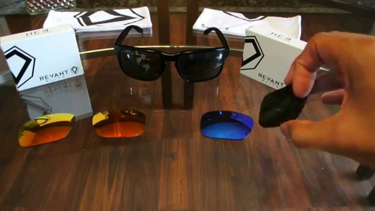 ef80f87aa4c7 Revant Replacement Lenses for Oakley Holbrook Sunglasses Fire Red Ice Blue  Elite HC3 - YouTube