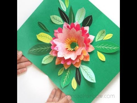 DIY Big Watercolor Flower Pop Up Birthday Card ( Free Templates! )