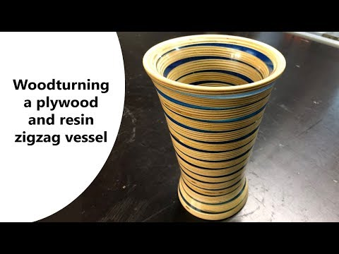 Woodturning a plywood and resin zigzag vessel