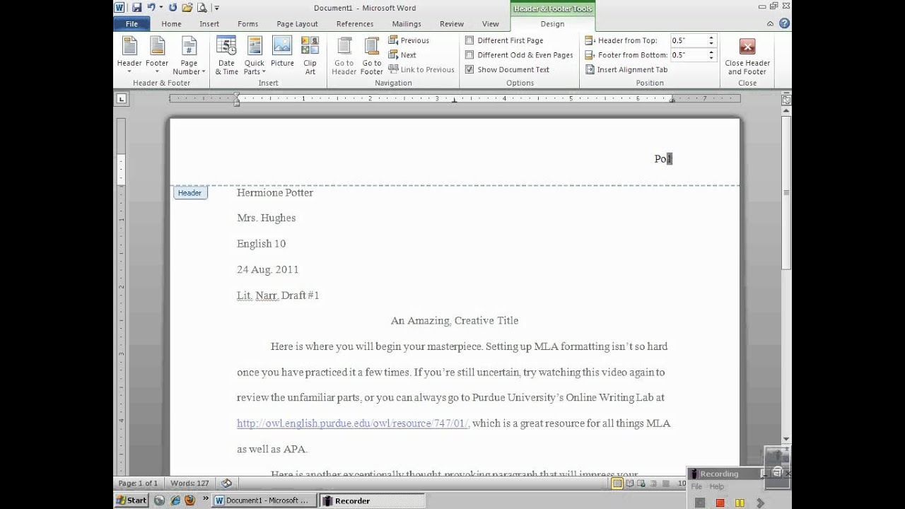 setting up mla header microsoft word 2010