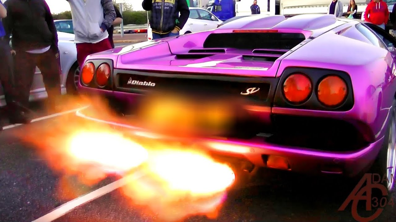 Lamborghini Diablo SV - HUGE FLAMES!! - YouTube on purple nissan gt-r 2014, purple dodge durango 2014, purple volkswagen beetle 2014, purple corvette 2014, purple bugatti veyron 2014, purple dodge challenger 2014, purple lotus elise 2014,