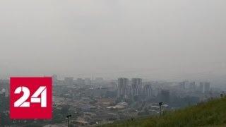 Дым от лесных пожаров снова окутал Красноярск - Россия 24