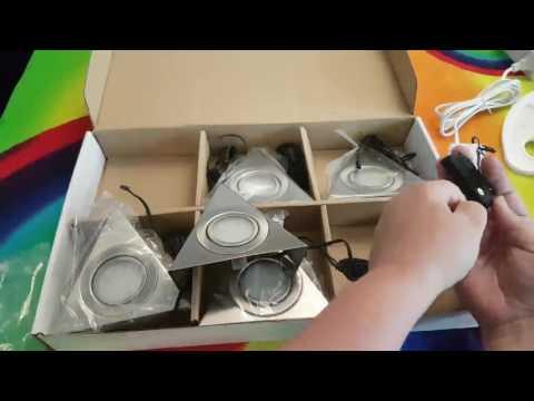 5er SET SO TECH® LED Dreieckleuchten Unterbauleuchten mit Zentralschalter Dreiecksleuchten