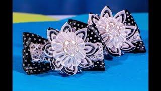 """School bows """"kanzashi"""". School bows  of ribbons. Bows from ribbons."""