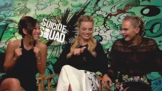 MIX!!!! SUICIDE SQUAD (2016) FUNNY interviews (Part 2)  Margot Robbie,Cara Delevingne,Will Smith