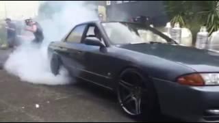 500HP RB25DET R32 Skyline 4th gear burnout!