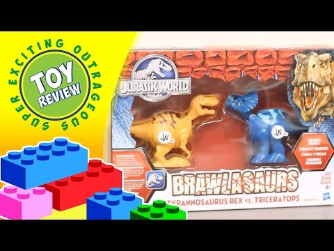 Brawlasaurs Tyrannosaurus Rex Vs Triceratops Jurassic World Hasbro Action Figures - Toy Review