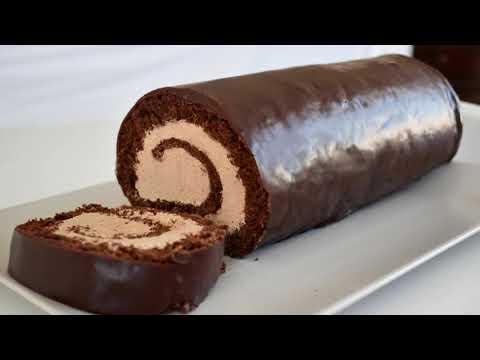 gâteau-roulé-au-chocolat-à-la-ganache,-glacage-brillant-:-ganache-au-beurre-#roulé-#gâteau-#buche